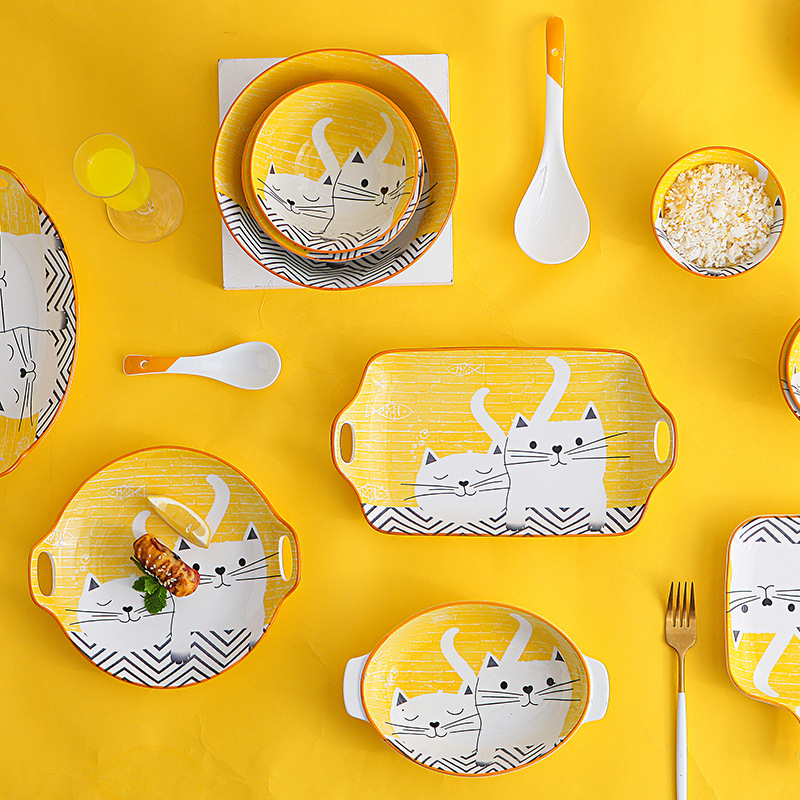 Japanese cartoon children's tableware bowls and dishes tableware rice bowl soup bowl baking dish fish plate ceramic dinner plate