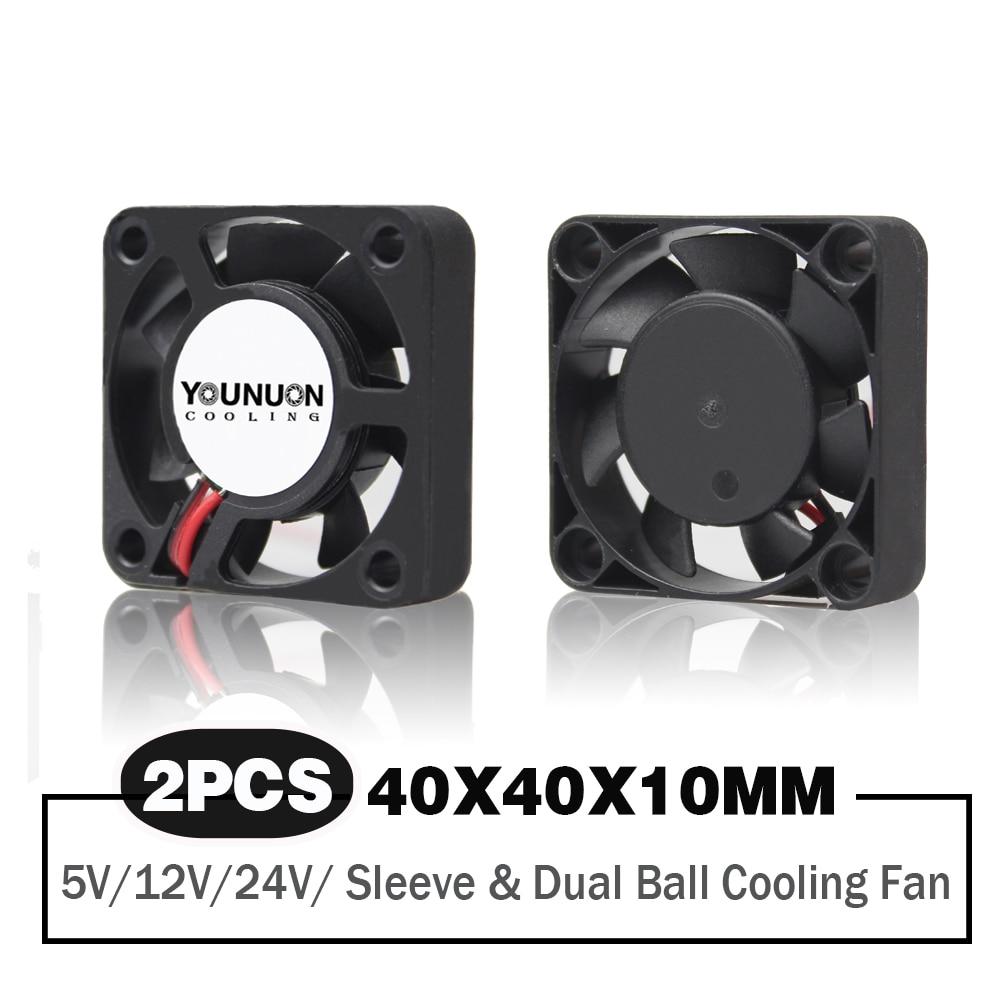 Вентилятор Охлаждающий бесщеточный с двумя шарикоподшипниками, 40x40x10 мм 40 мм 4 см, 5 В/12 В/24 В постоянного тока, 2 шт.