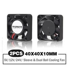 2 peças dupla rolamento de esferas 40x40x10mm 40mm 4cm dc ventilador de refrigeração sem escova dc 5v/12v/24v ventilador de refrigeração para impressora 3d pc