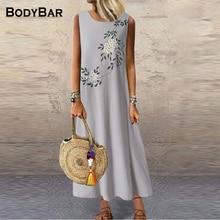 Fashion Sleeveless Print Dress Round Neck Vintage Long Dresses Ladies Loose Casual Dress Large Size Party Beaching Robe Clothing
