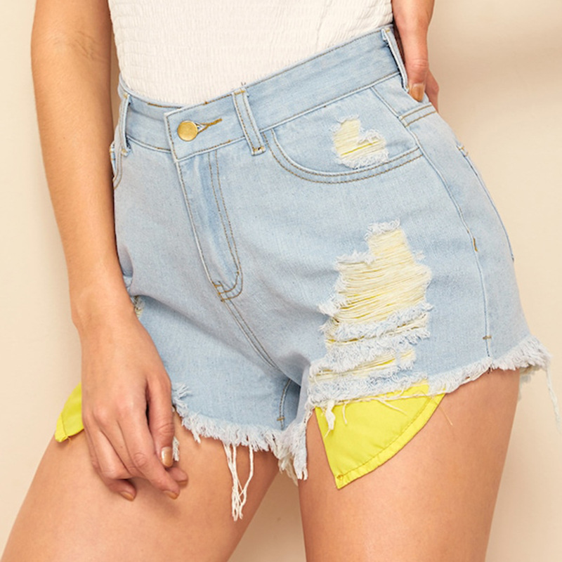 Cross Border Supply Of Goods AliExpress Pocket With Holes Denim Shorts 2019 Summer Sexy Medium Waist Tassels Pants Wai Mao Ku