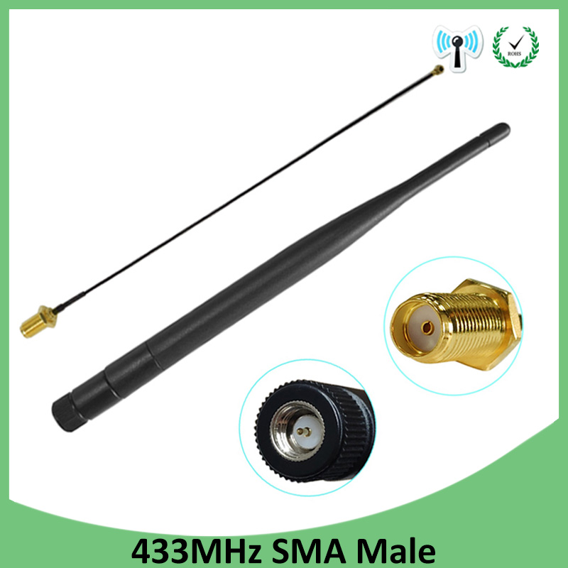 2pcs 433MHz Antenna 5dbi SMA Male Connector Folding 433 Mhz Antena Waterproof Directional Antenne + RP-SMA/u.FL Pigtail Cable