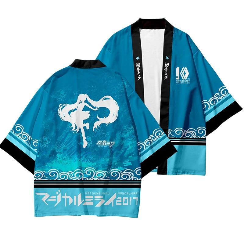 High-Q Unisex Anime Hatsune Miku Wafuku Cloak T-Shirt Tee T Shirt 3D Vocaloid Kimono Short Pants Cotton Casual T-Shirt TShirt