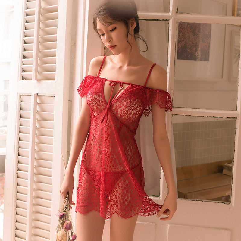 Sexy Lingerie Female Perspective Lace Word Shoulder Strap Sexy Lace Sleepwear Nightdress Set 3 Colors