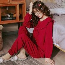 بيجامة نسائية قطن بالكامل طقم بيجاما احتفالي أحمر ملابس نوم بأكمام طويلة + بنطلون طويل بيجامات ملابس منزلية بيجامات