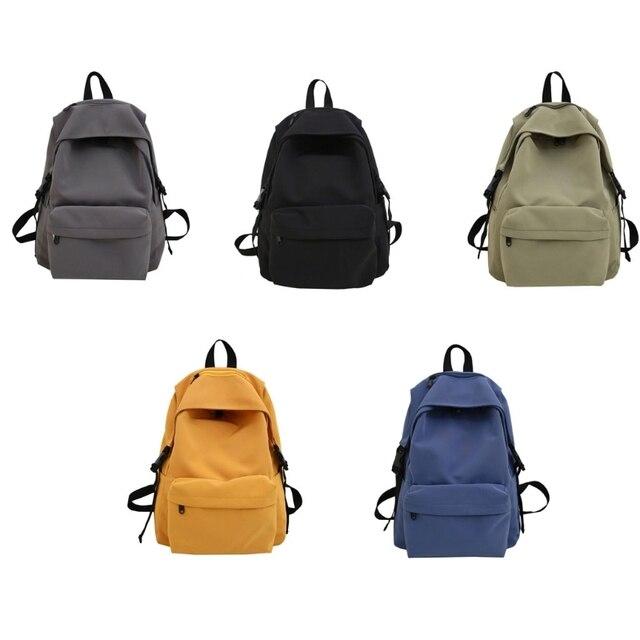 Фото нейлоновый рюкзак унисекс однотонный дорожный портфель для подростков