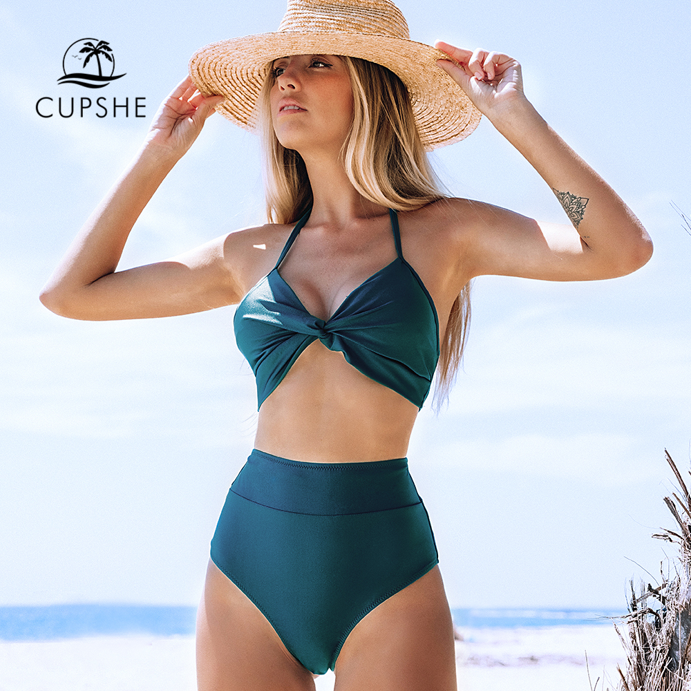 CUPSHE Blue Knotted Halter High-Waisted Bikini Sets Sexy Lace Up Swimsuit Two Pieces Swimwear Women 2020 Beach Bathing Suits