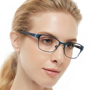 Image 1 - 金属メガネフレーム女性青色光眼鏡コンピュータ眼鏡ファッション超軽量近視メガネrhinestoneocciキアリbonez