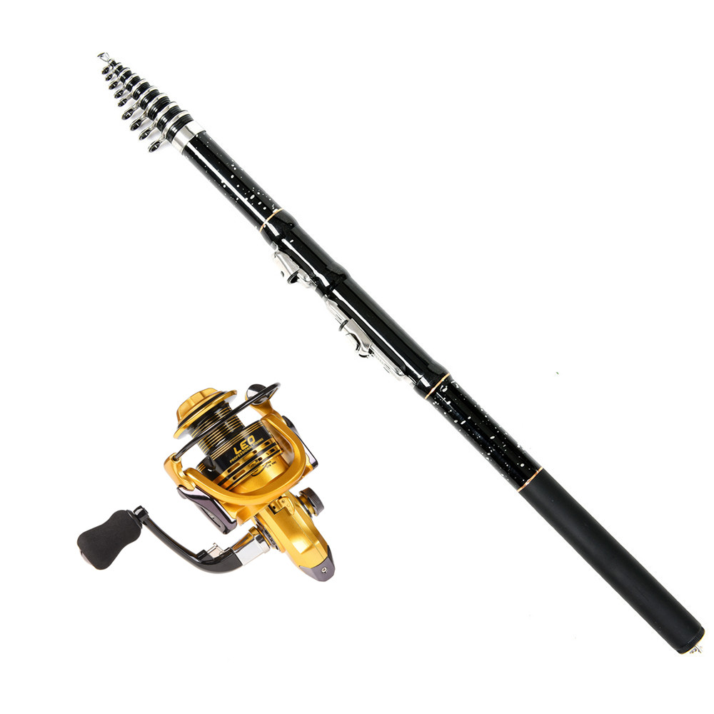 Combo-Kit Reel Telescopic-Rod Spinning Fishing Hard-Pole Star Black Metal-Wheel Carbon-Fiber title=