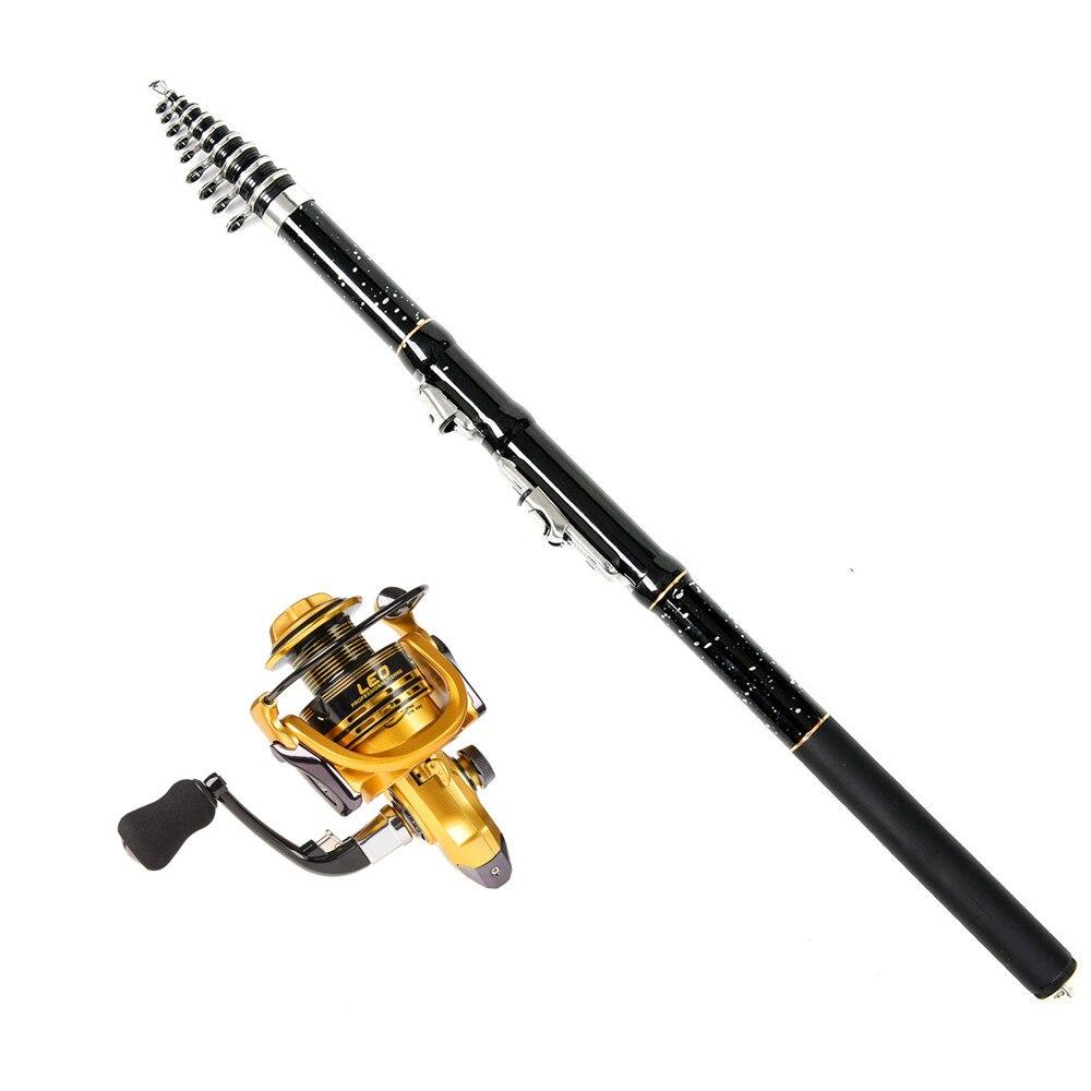 2019 1.8M-3.6M Black Star Print  Carbon Fiber Fishing Telescopic Rod Reel Combo Kit Spinning Fast Action Hard Pole Metal Wheel