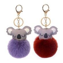 Manufacturer Direct Selling Artificial Wool Ball Cute Key Chain Koala Imitation Rex Rabbit Keychain Hair Accessories Keyring