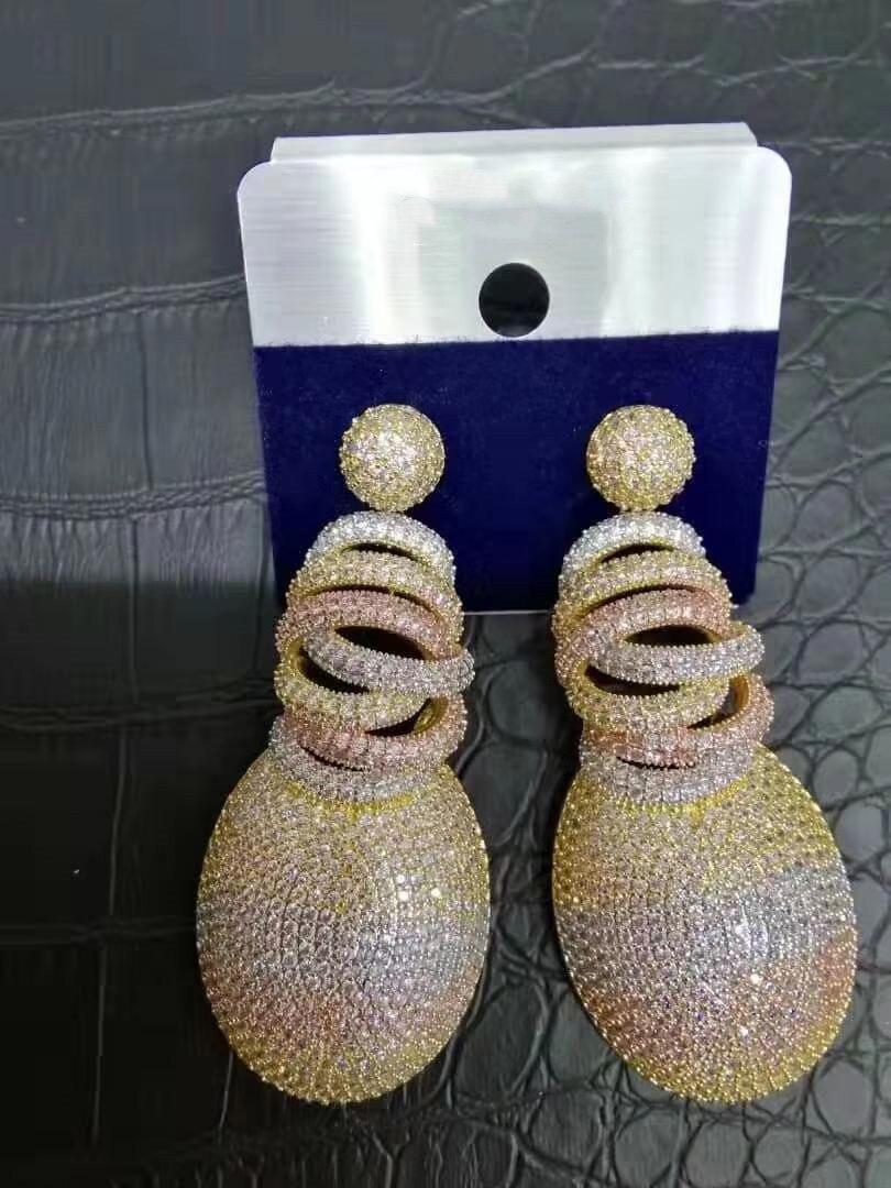 ACCKING luxe CZ pleine Micro incrustation cubique zircone femmes mariée mariage fiançailles boucle d'oreille Dubai Afica