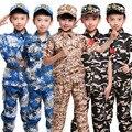 Crianças militar tático uniformes crianças exército militar deserto trajes de caça meninos treinamento camuflagem manga curta & completa conjunto