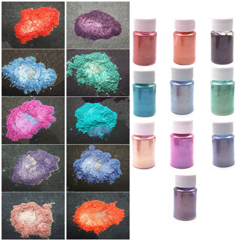 10 Pcs Colorful Aurora Powder Dyed Polarized Powder Anti-sinking Bottom DIY Handmade Glitter Epoxy Mold Jewelry Making Material
