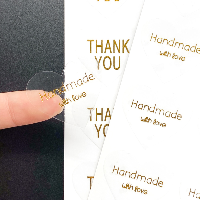 100pcs/lot Thank You Heart Design Transparent Hot Stamping For Baking Handmade Products Students' DIY Label Seal Sticker
