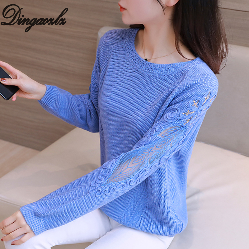 Dingaozlz Elegant New Knitted Sweater Hollow Out Embroidery Lace Shirt Long Sleeve Women Pullovers Tops