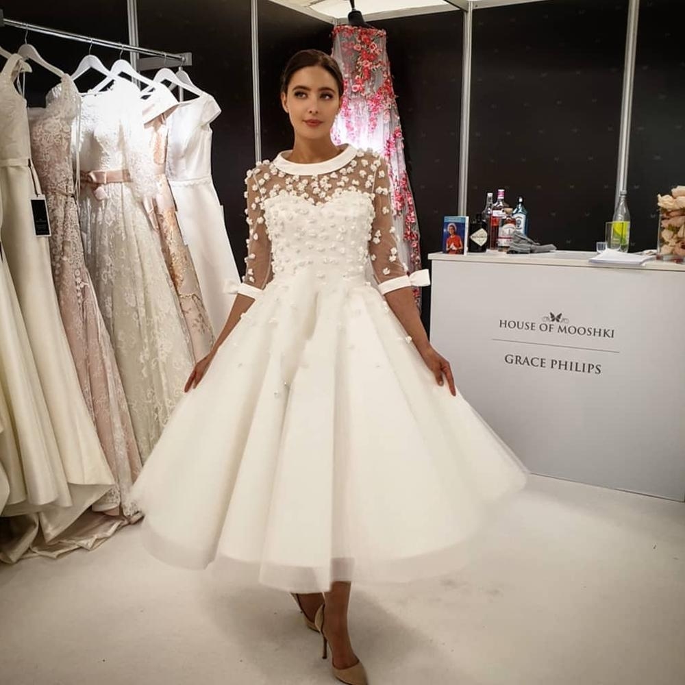 2020 Wedding Dresses Short  Tulle South Africa Spain  Satin Short Sleeves  Half Sleeves For Women Bridal  Gowns Bride Cheap