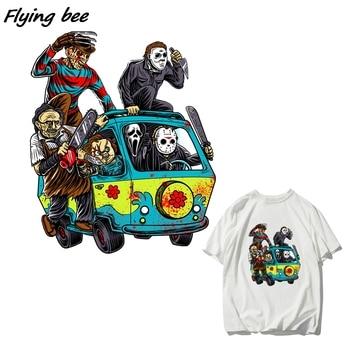 Flyingbee Horror Movie Collection Fierce Mörder Wärme Transfer Patches Für Kleidung T-shirt Hitze Presse Aufkleber X1149