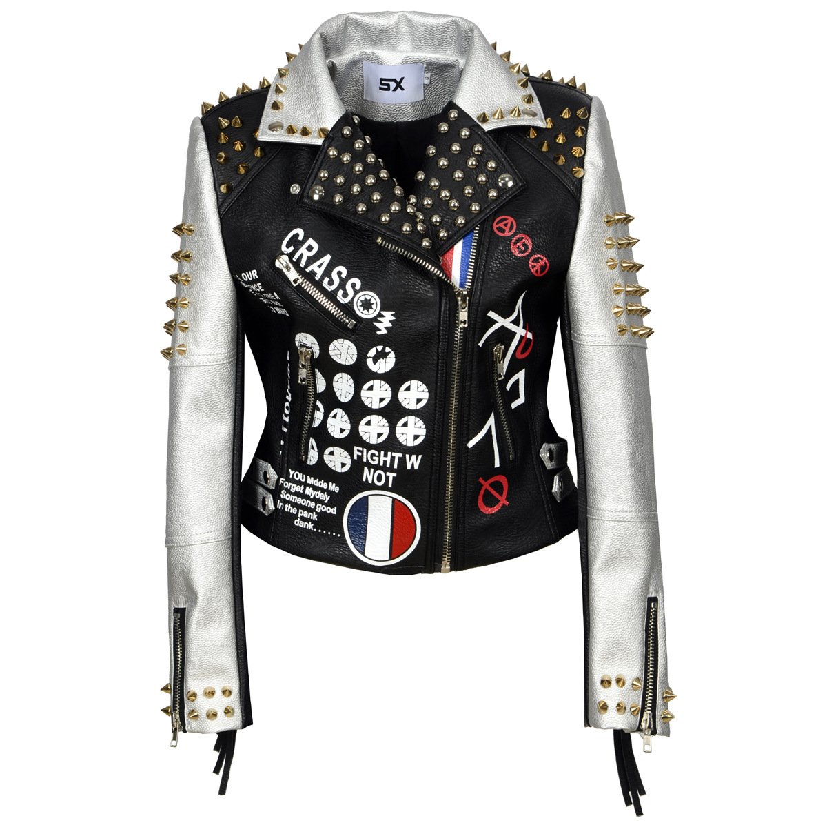 S To XXL 3XL PU Leather Jacket Women Letter Print Graffiti Rivets Coats Punk Biker Fringed Motorcycle Cazadora Cuero Mujer
