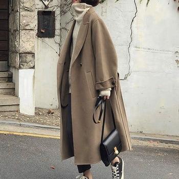 Korean Women Spring Autumn Long Wool Coat 2020 Fashion Plain Camel Long Sleeve Double-breasted Female Trench Coats Tops Female new fashion women female korean short type long sleeve slim motor zipper leather jackets coats
