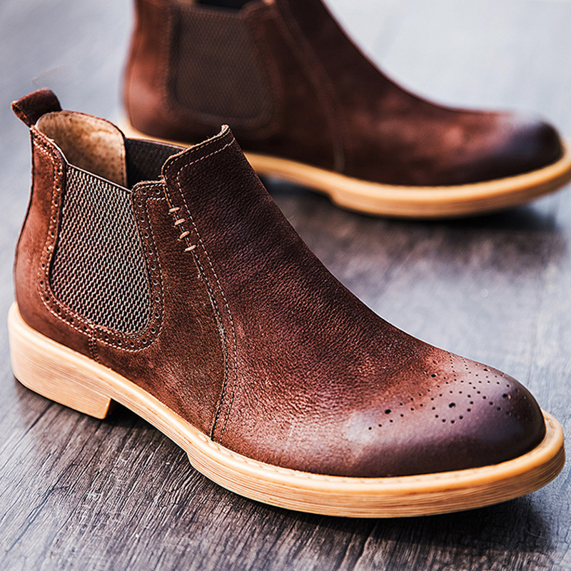 British style mens casual cowboy boots genuine leather tooling shoes outdoors chelsea boot platform ankle botas masculinas male