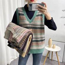Новый корейский модный вязаный свитер с v образным вырезом жилет