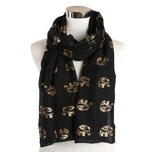 Image 2 - Foxmother Nieuwe Folie Gold Sliver Olifant Animal Print Sjaal Hijab Moslim Sjaal Wraps Ring Loop Sjaals Vrouwen