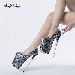 LLXF-zapatos de Crossdresser para mujer, Stiletto fetiche de 22cm, tacones finos de plataforma con hebilla, zapatos de boda, sandalias de verano para novia