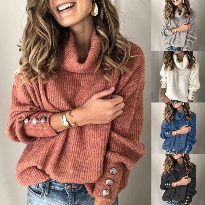 New Fashion Women Clothing Autumn Winter Turtleneck Sweater Loose Jumper Warm Knitted Sweater Pullover Large Size S-5XL