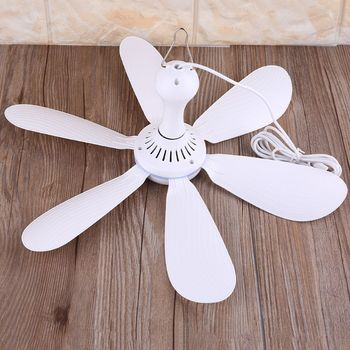 Premium New 6 Leaves 5V USB Ceiling Fan Air Cooler Hanging USB Powered 16.5inch Tent Fans for Camping Outdoor Dormitory Home Bed