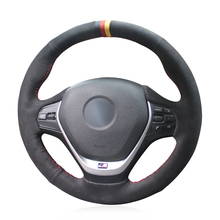 Black Red Marker Black Suede Car Steering Wheel Cover for BMW F20 2012-2018 F45 2014-2018 F30 F31 F34 2013-2017 F32 F33 F36 2014 universal replacement carbon fiber mirror cover for bmw rearview door mirror covers x1 f20 f22 f30 gt f34 f32 f33 f36 m2 f87 e84