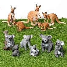 Simulação bonito koala cangurus figura collectible brinquedos animais selvagens modelo figuras para coleção brinquedos colecionáveis educacionais