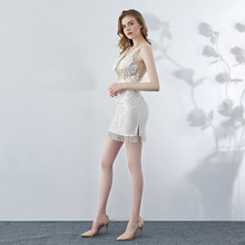 Mermaid Prom Dress Short Sexy See Through White Lace Gown Dresses For Women Nude Party Elegant Mini 2019