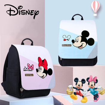 Disney 2020 Mickey Diaper Bags Backpack Pu Waterproof Large Capacity Baby Nappy Mother Travel Backpack Bottle Heating Baby Bags