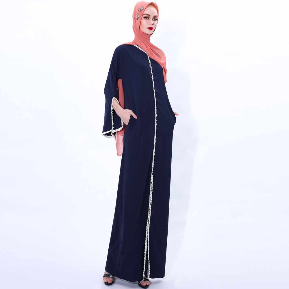Muslim Fashion Hijab Dress Kaftan Islam Clothing Abaya Dubai Turkey Arabic Vestidos Robe Women V-neck Eid Mubarak Long Dress 5