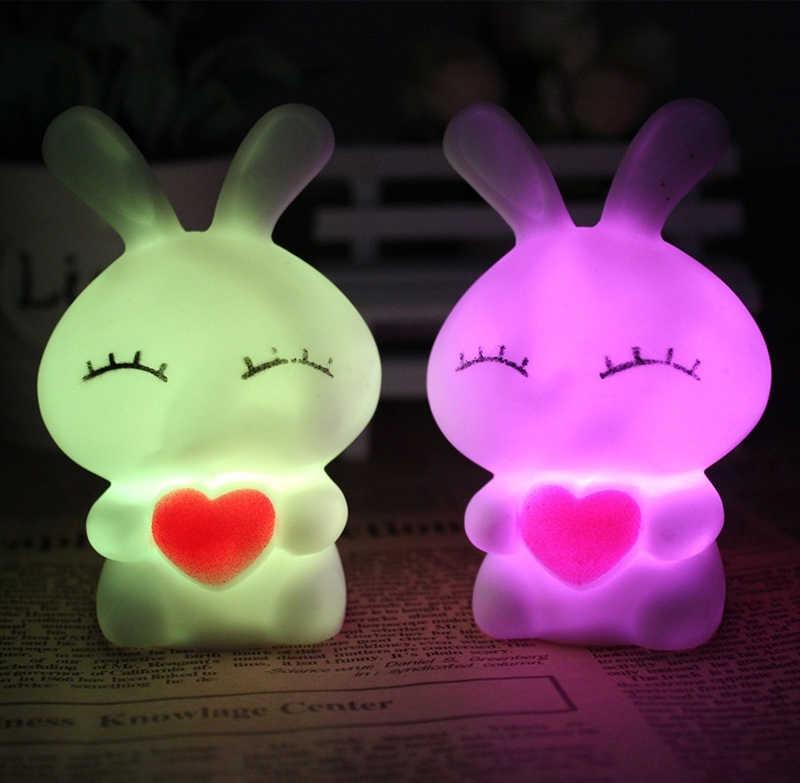 DIDIHOU קריקטורה ארנב LED לילה אור לילדים מתנה צבע שינוי לילה מנורת בית חדר שינה חתונה מסיבת קישוט 1PC