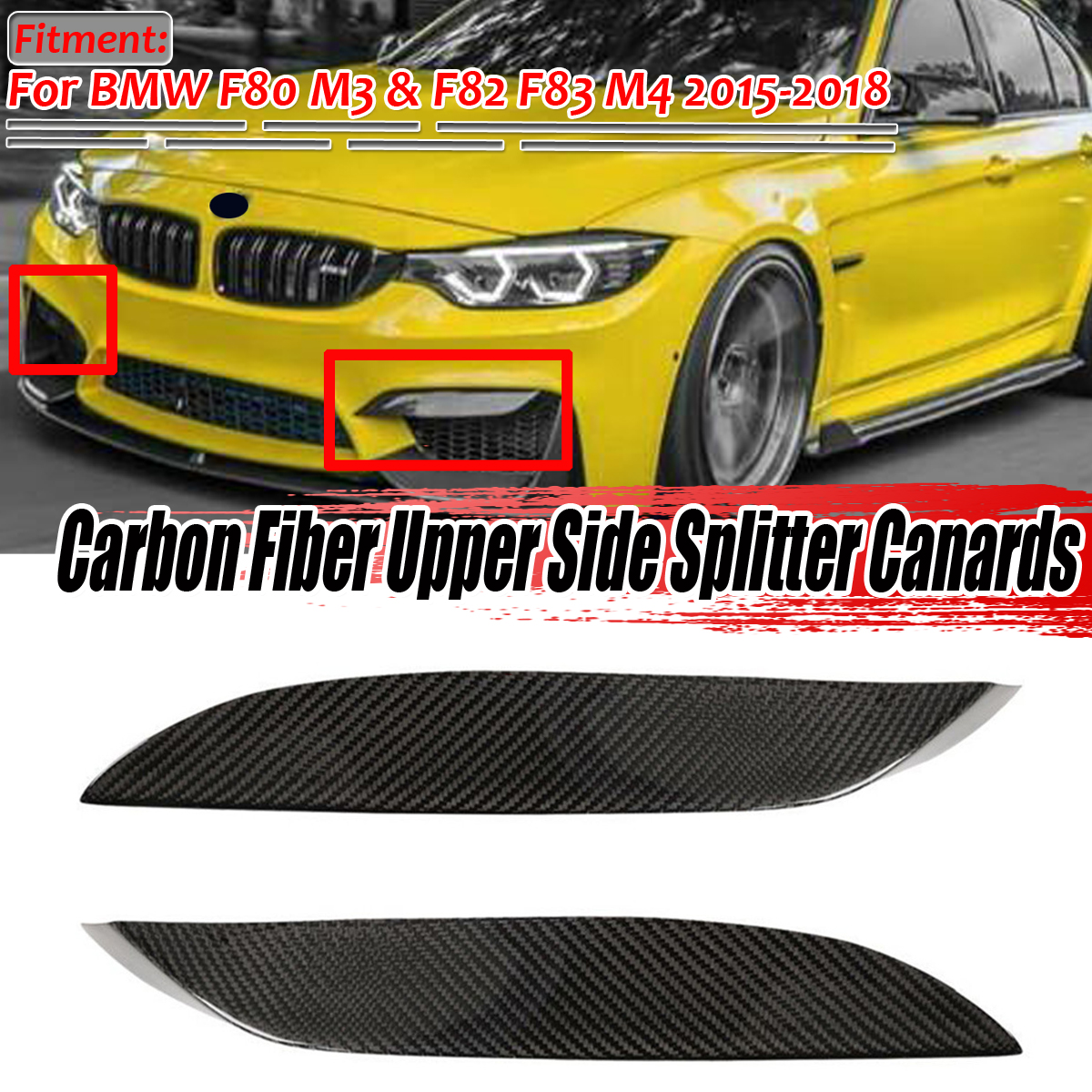 2x F80 Real Carbon Fiber Car Front Upper Bumper Lip Diffuser Splitter Canards Lip Protector For BMW F80 M3 F82 F83 M4 2015-2018 image