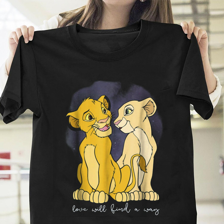 O rei leão simba nala amor vai encontrar uma maneira t camisa preto S-6XL