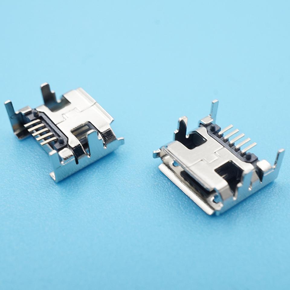 50 шт/лот micro usb разъем 5pin dip4 гнездо с завивкой сторона