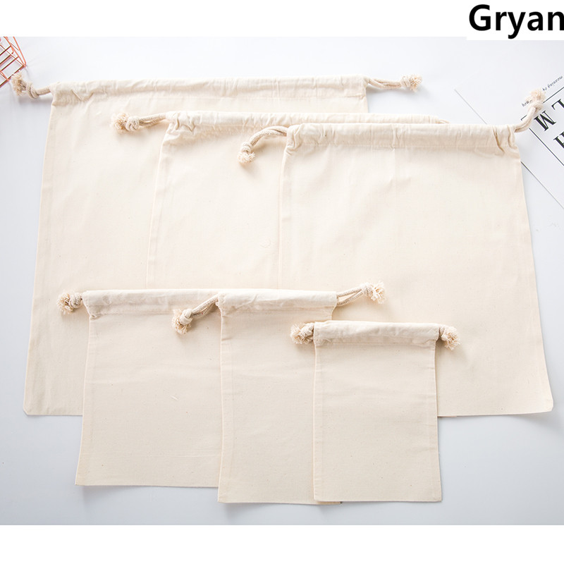 2019 New Package Drawstring reusable shopping bag Canvas Tote bags Reusable Cotton packet grocery Shopping Bag
