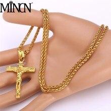 MINCN Jesus StainlMINCN Stainless Steel Mens Cross Necklace Flower Basket 60cm Keel Chain Luxury Jewelry