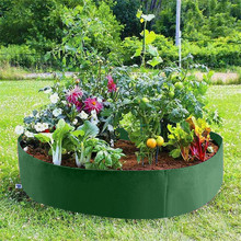 Elevated Cloth Bed Overhead Vegetable Box Garden Planter Flower Planting Bag Grow Bag for Details Round Garden Planting Grow Bag cheap breathable felt fabric + non-woven fabric FYLLX114 green round garden planting bag