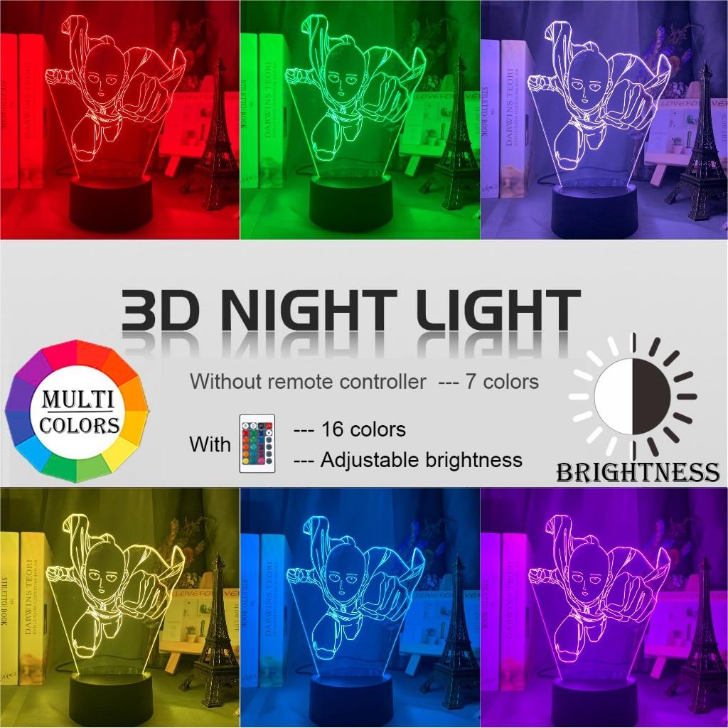 Hd68e34b5fcde4324a8d1b330f58af881U Luminária One Punch Man saitama figura led night light lâmpada para decoração de casa nightlight fresco mangá loja decoração idéias mesa luz 3d