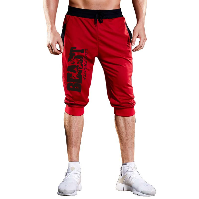 2019 Heat Brand Knee Long Men's Shorts Solid Color Printing  Patchwork Jogger Sports Bermuda CasualKnee Pants With Beach Shorts