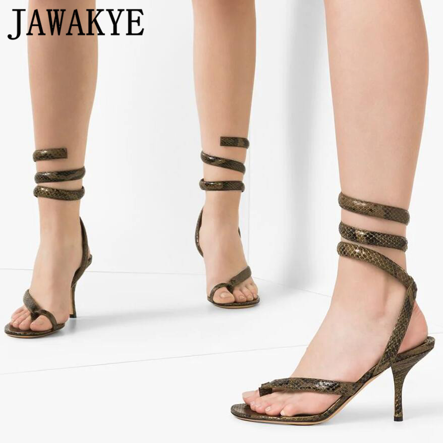 Sexy Split Toe sandals women  Flip Flop Snake skin High Heels crossover summer Shoes real leather gladiator shoes for ladies