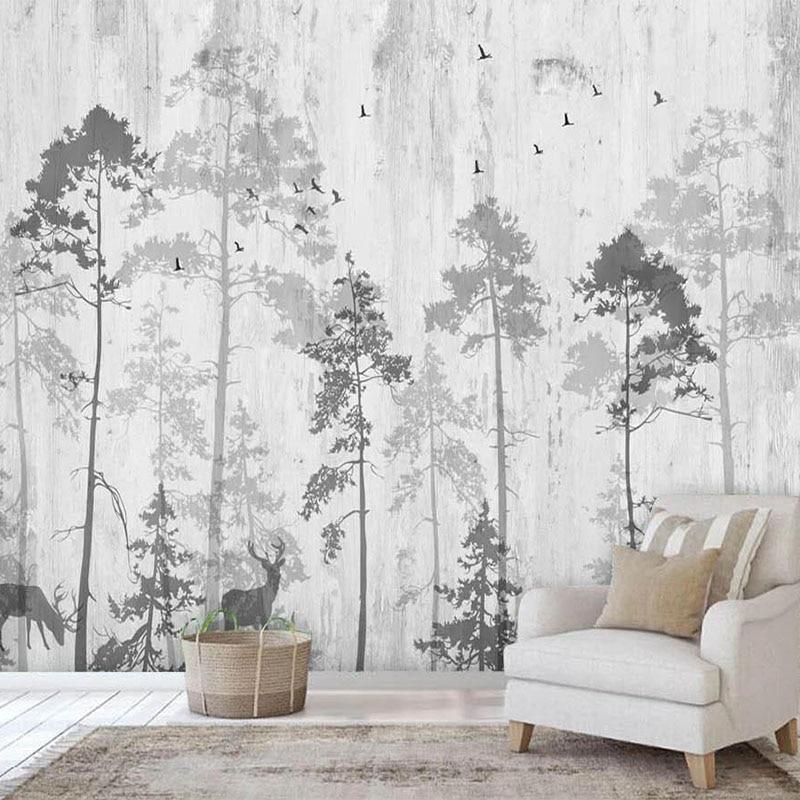 Custom Photo Wallpaper 3D Nordic Hand-painted Fantasy Forest Elk Murals Living Room TV Sofa Bedroom Home Decor Papel De Parede