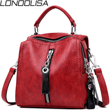 Womens Genuine Leather 3 in 1 Backpack Japan Style Back Pack Small School Bags For Teenage Girls Female Bagpack mochilas 2019