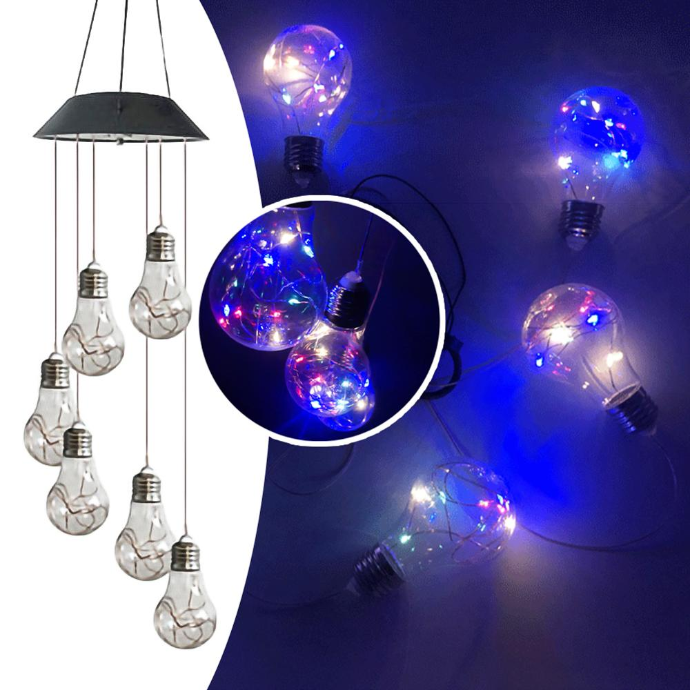 Portable Solar Powered 6 LED Wind Chime Light Changing Spiral Spinner Windchime Outdoor Indoor Bulb Lamp String Festival Lamp