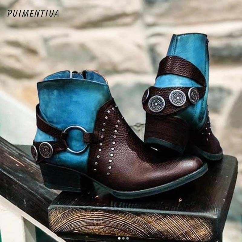 PUIMENTIUA PU Leather Women Boots Vintage Bohemian Ankle Boots Women Shoes Zipper Low Heel Ladies Shoes Woman Autumn Boots 2020