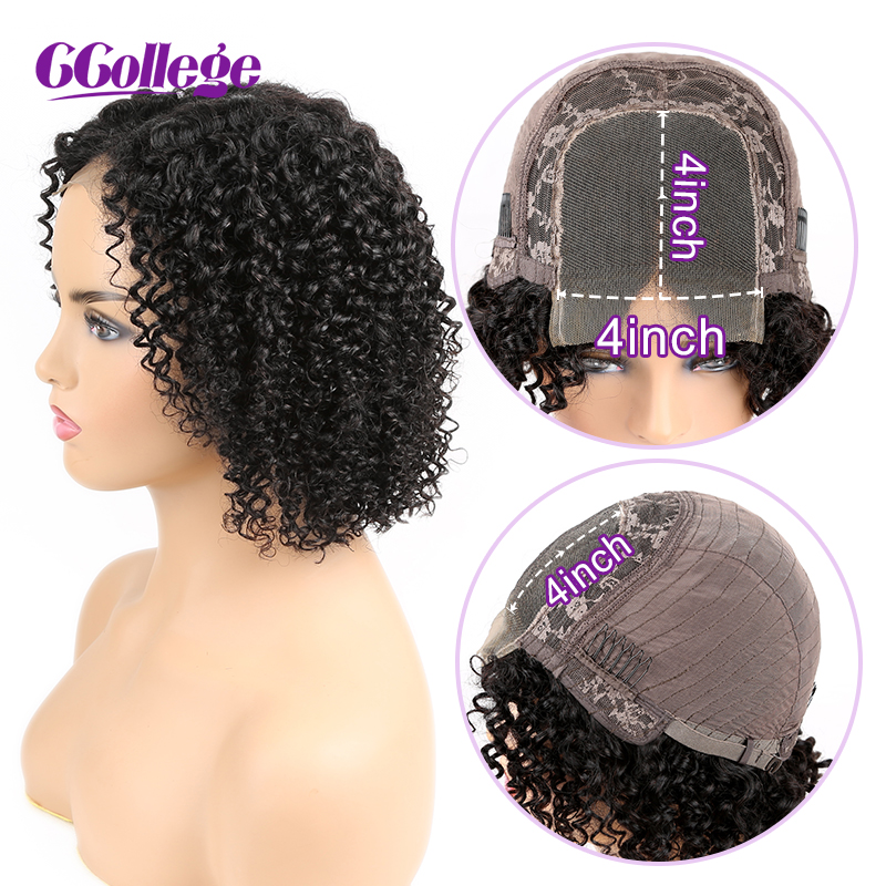 4x4 Lace Closure Wig Mongolian Kinky Curly Wigs For Black Women Pre Plucked With Baby Hair 130% Density Human Hair Wigs Non Remy